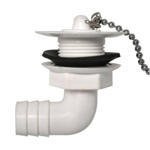 Wasserauslauf 3/4 zoll - weiß - abgewinkelt 90°