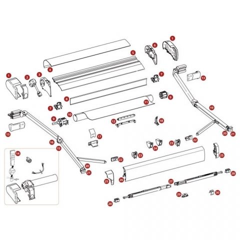 Abdeckung für Gelenkarm-Befestigung, Satz links und rechts