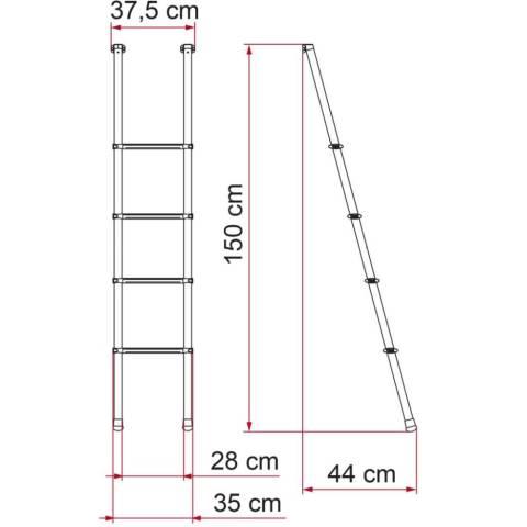 Fiamma Alu Leiter Alkovenleiter Deluxe 4B