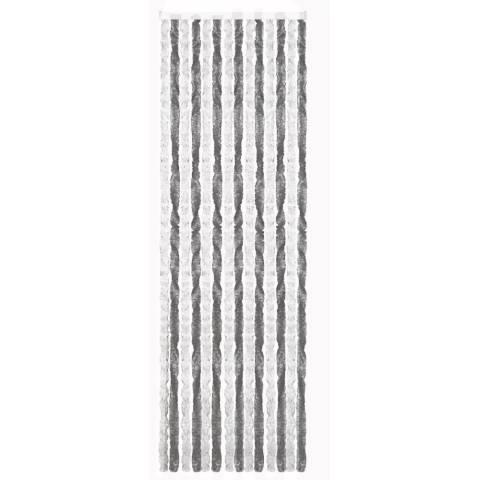 Chenille Flauschvorhang 56 x 205 cm grau/weiß