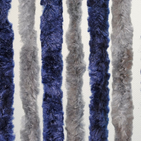 Chenille Flauschvorhang 56 x 205 cm blau/silber