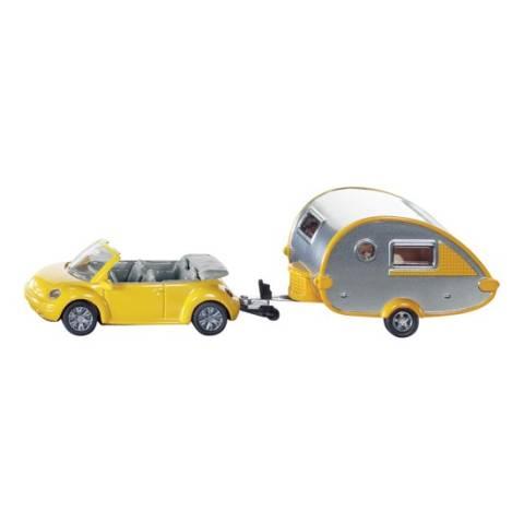 Siku VW-Beetle mit Tab-Wohnwagen