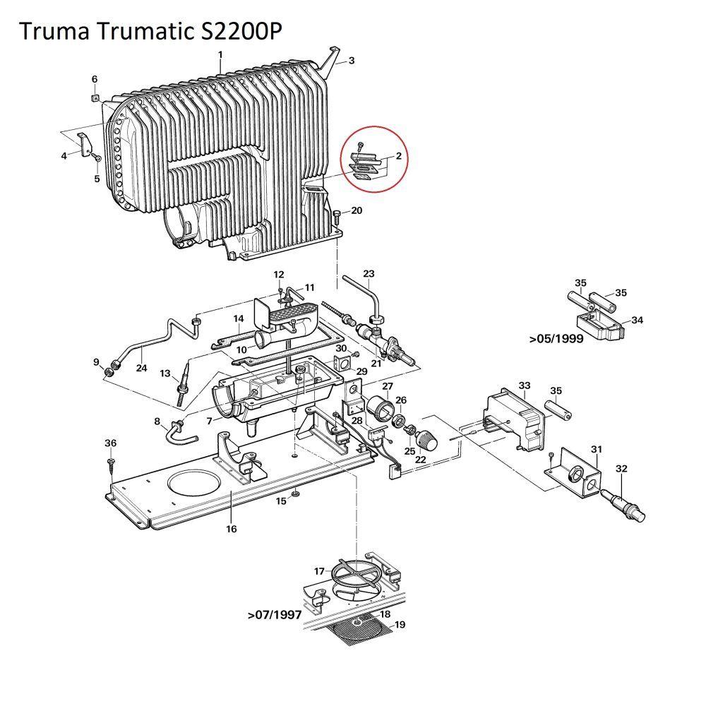 Truma Abgasrohrbefestigung Dichtung passend für Trumatic S 3002 S 3004