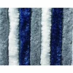 Chenille Flauschvorhang 56 x 175 cm dunkelblau/weiß/grau